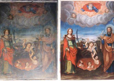 Tableau entier avant et après restauration