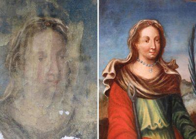 Visage de Sainte Agathe avant et après restauration